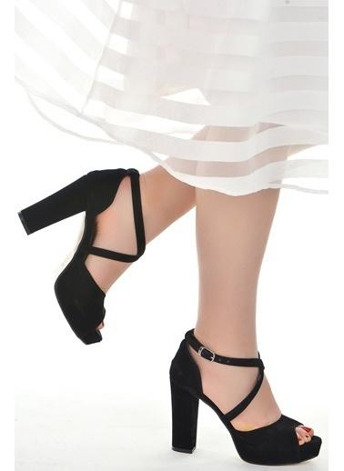 Ayakland Ayakland 3210-2058 Süet Abiye 11 Cm Platform Topuk Bayan Sandalet Ayakkabı Siyah